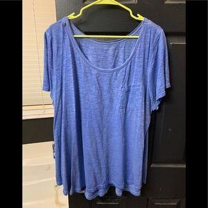 Lane Bryant size 22/24w distressed blue tee